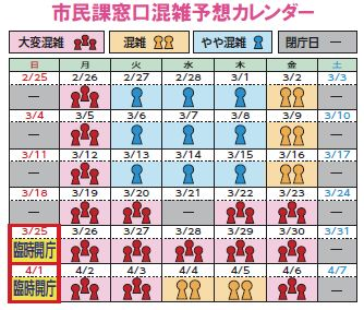 <strong>南区</strong>市民課混雑予想カレンダー